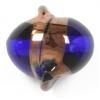 Glass Lamp Bead 15x14mm Twister Cobalt Blue/Bronze